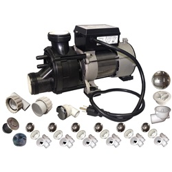 Plumbing | Plumbing Kits for Jetted TubsPUMP / PLUMBING JETTED TUB ASSEMBLY KIT: WW BATH CHROME WITH .75HP PUMP