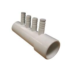 "Plumbing | ManifoldsMANIFOLD: 4-PORT 1"" SLIP X 1"" SPIGOT X (4) 3/8"" RIBBED BARB"