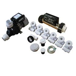 Plumbing | Plumbing Kits for Jetted TubsPUMP / PLUMBING JETTED TUB ASSEMBLY KIT: SLIMLINE WHITE WITH .75HP PUMP AND IN.LINE HEATER